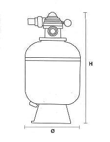 Dimensions filtre piscine Mega MFV diamètre 600mm