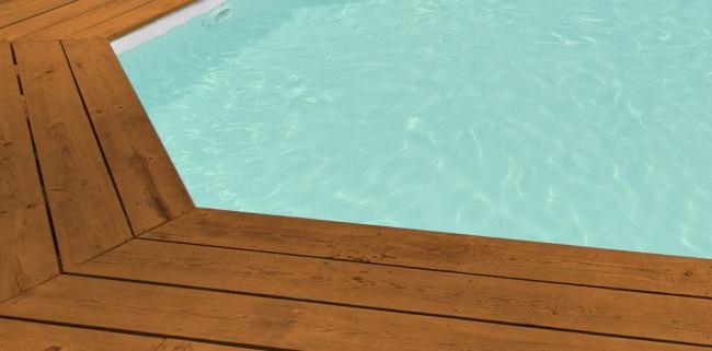 Liner piscine sur mesure gris clair pour piscine bois Liner sur mesure piscine octogonale