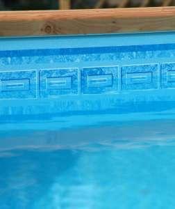 Liner piscine 75 100 bleu clair avec frise mykonos pour for Frise pour liner piscine pas cher