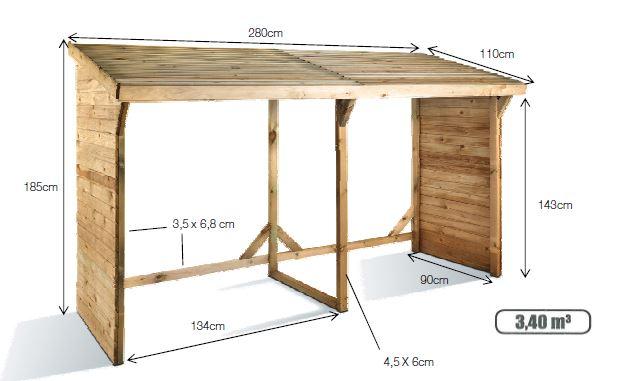 abri b ches montr al pour stockage bois m3 chez piscineo. Black Bedroom Furniture Sets. Home Design Ideas