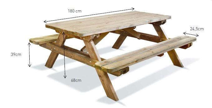 Dimension table jardin bois table de lit a roulettes Prix table de jardin