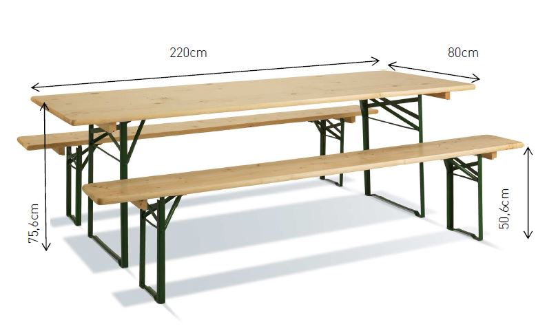 Dimensions table bois pliable Robuste