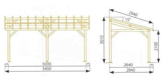 3 Car Carport Dimensions : Carport en bois vanoise traité classe chez piscineo