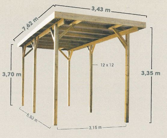 Carport en bois pour camping car chez piscineo for Single car carport dimensions