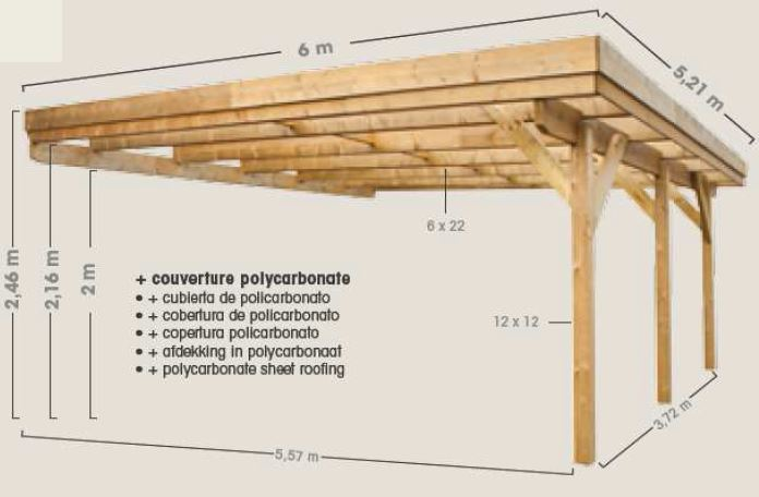 Carport en bois adosser pour 2 voitures for Single car carport dimensions