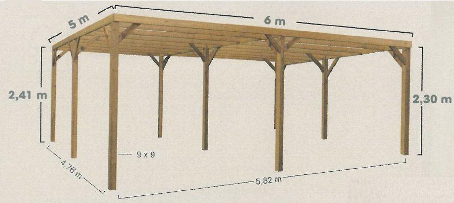 Carport en bois monza due pour 2 voitures chez piscineo for Two car carport size