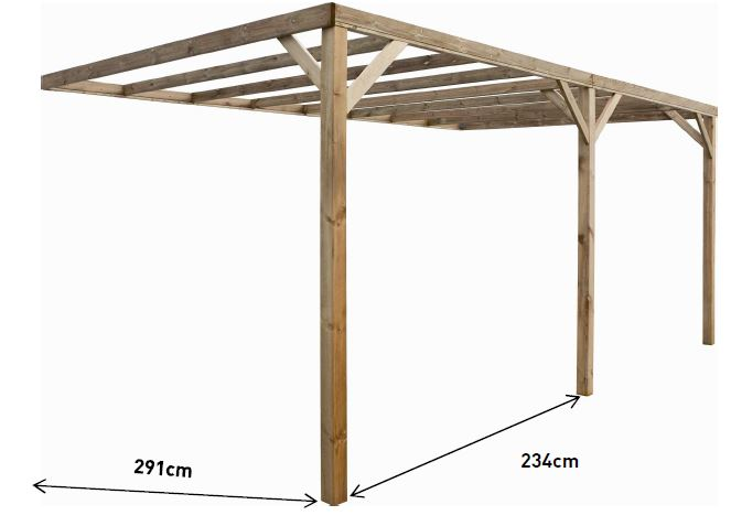 carport en bois adosser pour 1 voiture. Black Bedroom Furniture Sets. Home Design Ideas