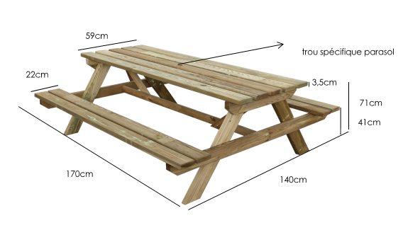 Table Pique Nique En Bois First Pour Le Jardin Chez Piscineo