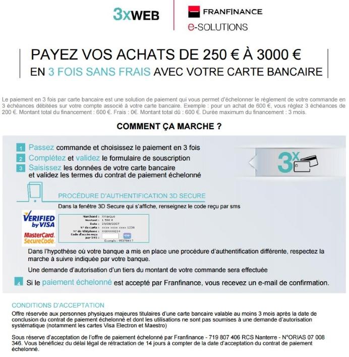 mentions légales pour le paiement 3X WEB