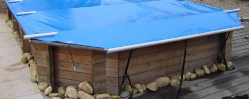 Bâche à barres piscine bois Wood Securit Plus