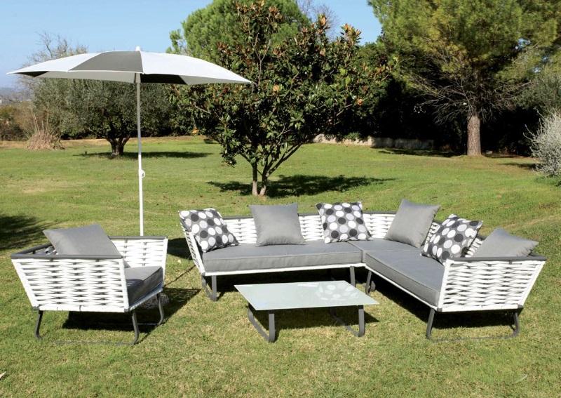 Salon de jardin Horizon blanc et gris