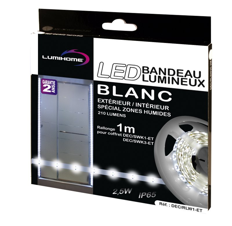 Rallonge 1m bandeau lumineux led ext rieur et int rieur de - Interieur blanc et lumineux ...