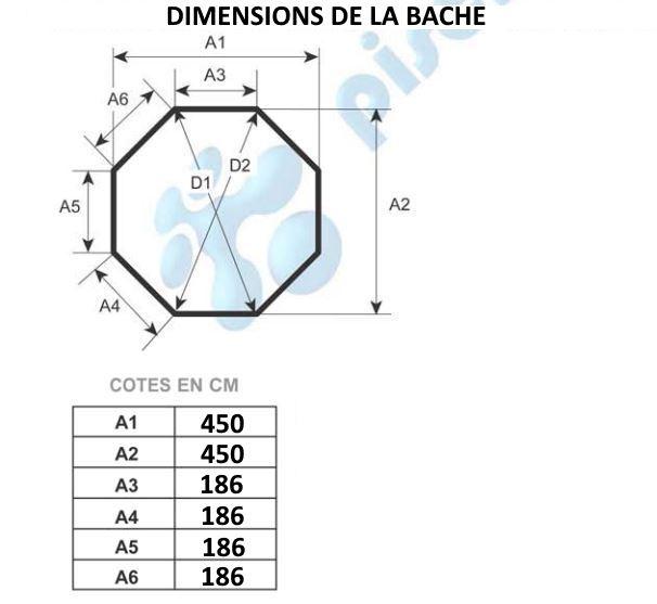 B che opaque pour piscine bois octogonale x au for Bache opaque
