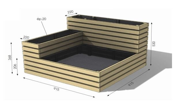 carre-potager-kub-3-positions-dimensions