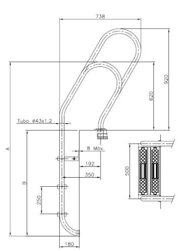 Dimensions échelle mixte en acier inox pour piscine publique