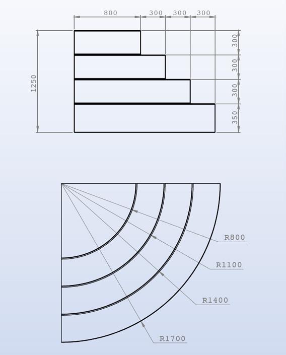 Charmant Dimensions Escalier 1/4 De Rond 4 Marches Sur Liner