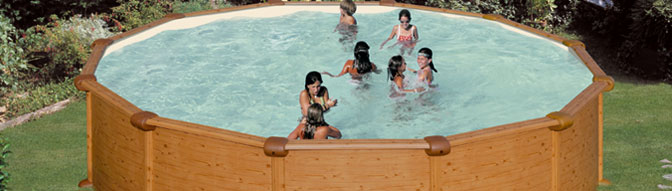 piscine hors sol acier gre alto aspect bois diam h avec skimmer motoris. Black Bedroom Furniture Sets. Home Design Ideas