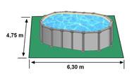 Encombrement au sol piscine hors sol GRE KITPROV6188PO