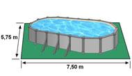 Encombrement au sol piscine hors sol GRE KITPROV738PO