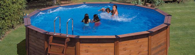 Piscine hors sol gre nature pool diam avec filtre cartouche pas cher sur piscineo - Piscine hors sol habillage bois ...
