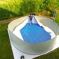 Piscine hors sol gre nature pool diam pas cher sur piscineo - Parches para piscinas de lona ...