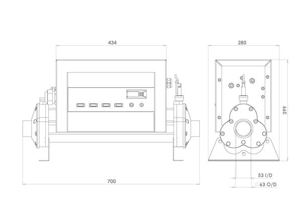 dimensions rechauffeur piscine elecro vulcan v-100